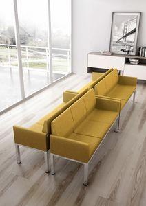 Tre-Di 3 seats sofa with padded armrests 99903, Canapé 3 places pour les salles d'attente et les bureaux