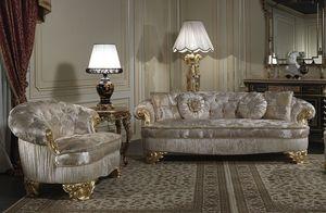 Art. PA/603 sofa, Canapé classique de luxe, sièges avec grande profondeur