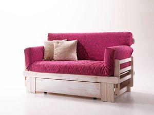 Botticelli, Canapé-lit rustique, en bois, avec récipient