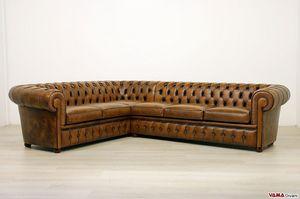 Chesterfield canapé d'angle, Canapé d'angle avec rembourrage capitonné