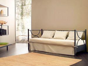 Duetto Sofa, Canapé de métal linéaire, avec des coussins rembourrés de retour