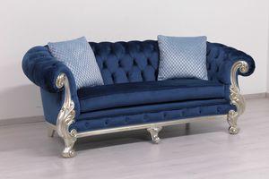 Manchester cuir 2 places, Canapé classique de luxe, avec un rembourrage matelassé