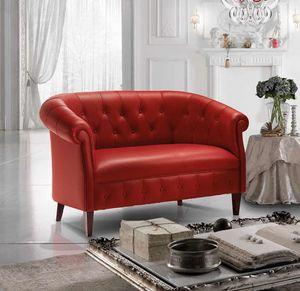 MARGOTT, Canapé de style anglais, avec rembourrage capitonné