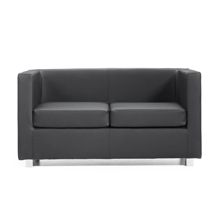 Quadra 2 3 PL, Canapé en bois recouvert de cuir, différentes couleurs, pour les bureaux