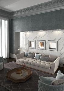 Renaissance sofa, Canapé rembourré capitonnè avec base en bois