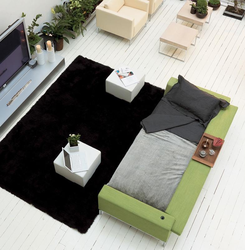 Arian bed, Canapé-lit avec structure en bois, pied chromé