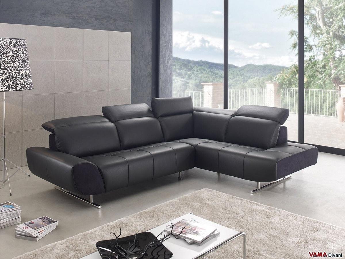 Domino, Canapé d'angle moderne avec pieds hauts en acier chromé