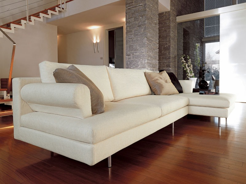 Brera corner, Canapé moderne avec la péninsule, pieds chromés, pour le salon