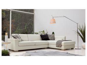 Brug corner, Canapé angulaire élégant en polyuréthane, pieds en bois