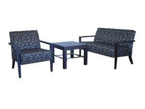 C20, Élégant canapé en hêtre, tapissé, dans un style moderne