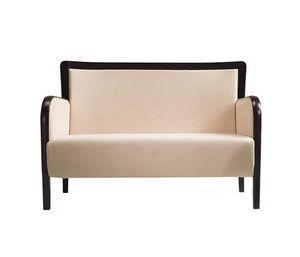 C28, Bois et canapé en tissu, assise et dossier rembourrés, pour salles d'attente, hôtels, magasins