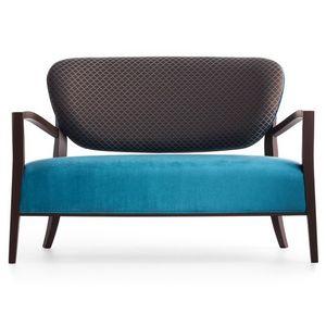 Cammeo 02651, Canapé en bois massif, assise et dossier rembourrés, revêtement en tissu, style moderne