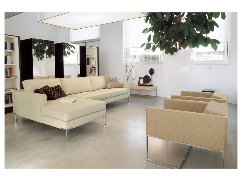 Ginger corner, Canapé modulable, pied chromé brillant pour les bureaux et les maisons