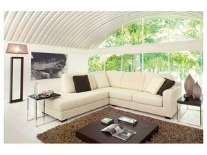 Ischia, Canapé moderne dans un style simple, garnie en polyuréthane