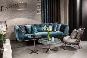 Iseo sofa, Canapé avec structure en aluminium, rembourrée en caoutchouc