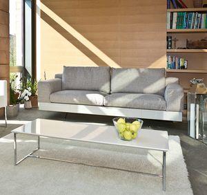 Lario, Canapé moderne avec base en laque ou cuir