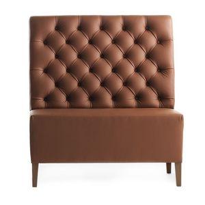 Linear 02451K, Haute Banc modulable, pieds en bois, assise et dossier rembourrés capitonnè, revêtement en peau, style moderne