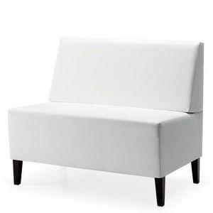 Linear 02452, Canapé modular basse, pieds en bois, assise et dossier rembourrés, revêtement en tissu, style moderne