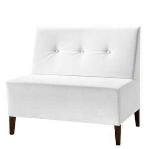 Linear 02952 - 02954, Petit banc modulaire, pieds en bois, assise et dossier rembourrés, revêtement en tissu, style moderne