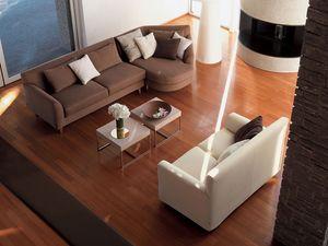 Minorca corner, Canapé d'angle, avec un tissu amovible, pour le salon