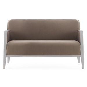Opera 02251, Canapé en bois massif, assise et dossier rembourrés, revêtement en tissu, style moderne