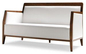 PL 49 EN, Canapé linéaire en bois, sellerie cuir