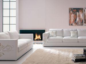 Santiago personnalisé 01, Canapé spécial en cuir imprimable, style moderne