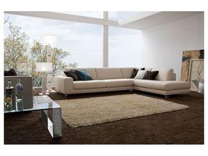 Square, Élégant canapé avec cadre en bois, différentes finitions
