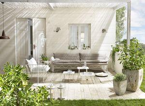 Bahamas canapé, Canapé d'extérieur, le métal de base, recouvert de lin