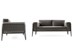 Pois canapé 2p, Canapé pour l'extérieur, coussins amovibles, structure en acier
