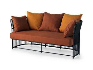 Tibidabo canapé bas, Canapé en métal, tissé, avec coussins, pour extérieur