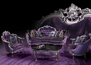 220 Canapé, Canapé avec des finitions en argent, style Louis XV