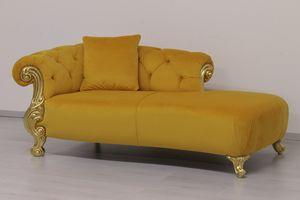 Oceano Tissu dormeuse, Méridienne de style baroque, avec des finitions en or et argent