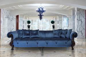 Oceano tissu 4 places, Canapé 4 places avec finition or, style classique de luxe