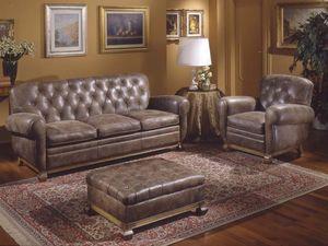 Albas Sofa, Sofa style, recouvert de cuir, duvet d'oie oreillers
