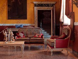 Ambra canapé, Canapé touffue classique, avec des sculptures, finition laquée