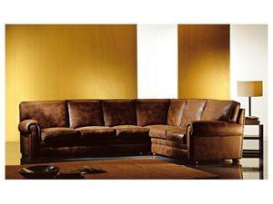 Angular Oregon, Canapé d'angle recouvert de tissu, style classique