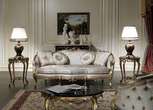 Art. VE/203 Canapé Venezia, Canapé de luxe, de style Louis XV, avec des sculptures précieuses