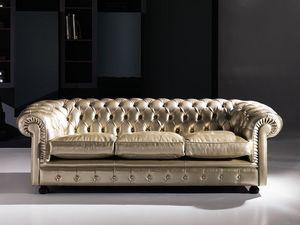 Cester, Canapé classique, touffue, en cuir, pour les espaces publics