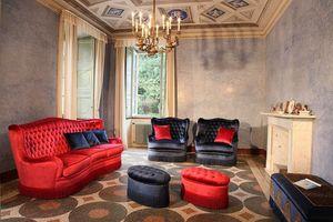 Club, Canapé avec sellerie matelassée, style classique de luxe