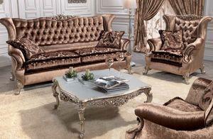 Corona, Canapé classique de luxe pour salles de séjour, avec 2 sièges