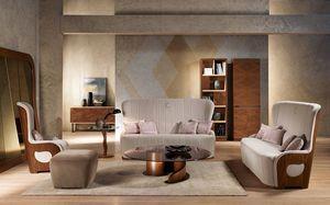 DI38 Galileo canapé, Canapé avec structure en noyer, tapissée, pour la maison