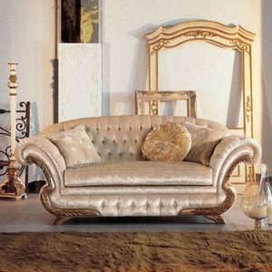 Diletta, Canapé luxe classique, cadre avec la finition de la feuille d'or