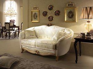 Donatello canapé, Canapé de style néoclassique, décorations en bois sculpté à la main, pour un salon