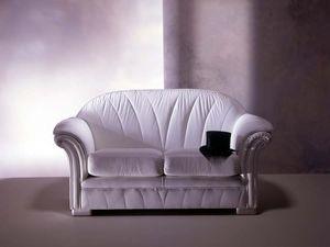 Forma Sofa, Canapé classique, en cuir blanc, pour salon de luxe