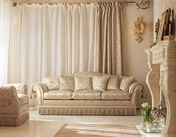Glicine Ring, Canapé en plein cintre rembourré, pour salons de style classique