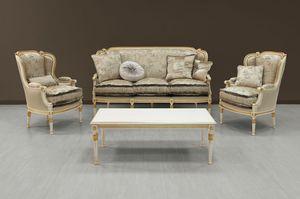 Guttuso canapé, Canapé de luxe peint en blanc avec des ornements d'or
