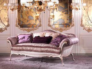 Julia, Canapé de luxe recouvert de plumes, en bois de couleur lilas