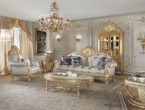 Lario sofa, Canapé de style classique avec des décorations en dentelle