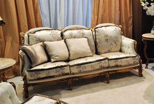 Liberty canapé 3 places, Canapé-main Classique sculpté, en noyer avec de l'or